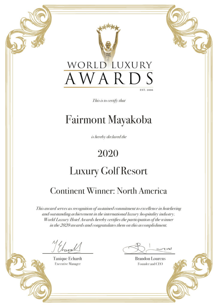 Award 2020 Luxury Golf Resort